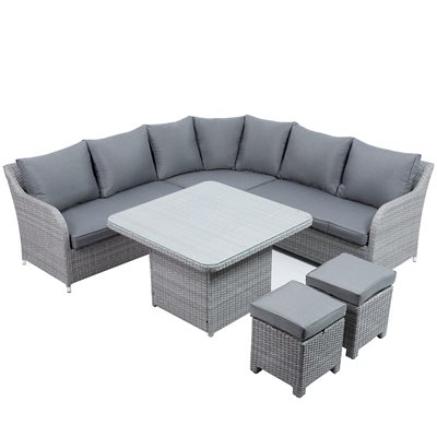 BLAKENEY OUTDOOR RATTAN CORNER SET in Grey