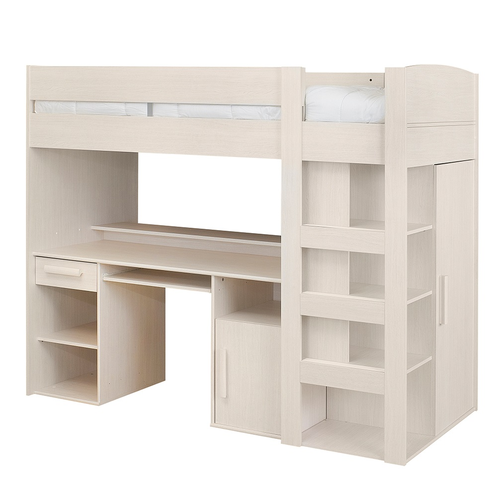 Montana mezzanine style high sleeper kids cabin bed in grey oak kids - Bed kind met mezzanine kantoor ...