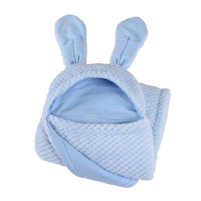 BUNNY EARS BABY BLANKET in Blue