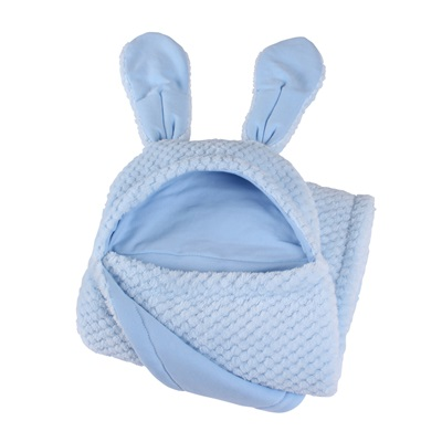BUNNY EARS BABY BLANKET in Blue
