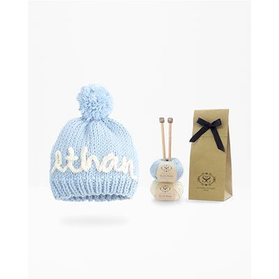 PERSONALISED BABY HAT KNITTING KIT in Baby Blue