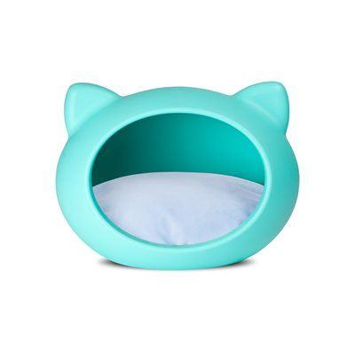 CAT CAVE PET BED in Blue with Blue Cushion