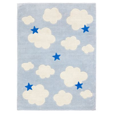 Clouds & Stars Childrens Rug in Blue