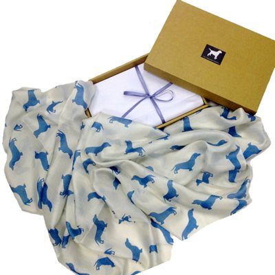 DACHSHUND SILK SCARF With Blue Print by The Labrador Company