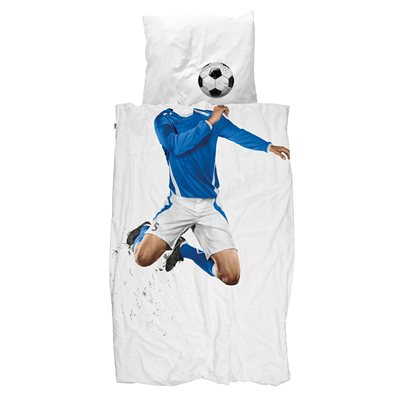 SNURK Childrens Football Duvet Bedding Set in Blue