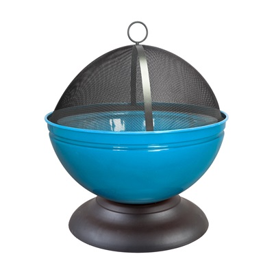 GLOBE ENAMELLED FIRE PIT in Blue with Grill