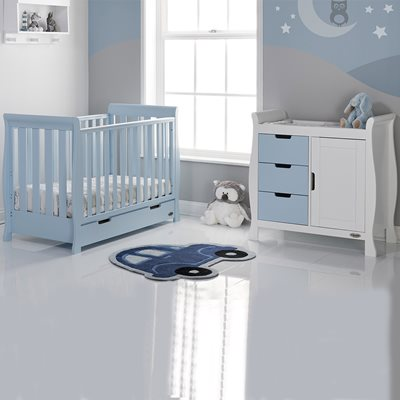 STAMFORD MINI COT BED 2 PIECE NURSERY SET in Bonbon Blue by Obaby