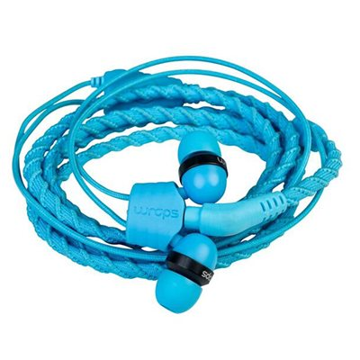 WRAPS CLASSIC WRISTBAND HEADPHONES WITH MICROPHONE in Lagoon Blue