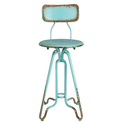 DISTRESSED IRON COUNTER STOOL in Ocean Blue