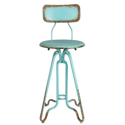 Dutchbone Ovid Distressed Iron Counter Stool In Ocean Blue