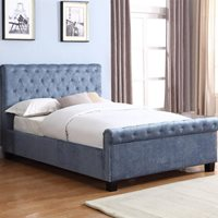 LOLA UPHOLSTERED OTTOMAN BED IN BLUE by Flair Furnishings  King