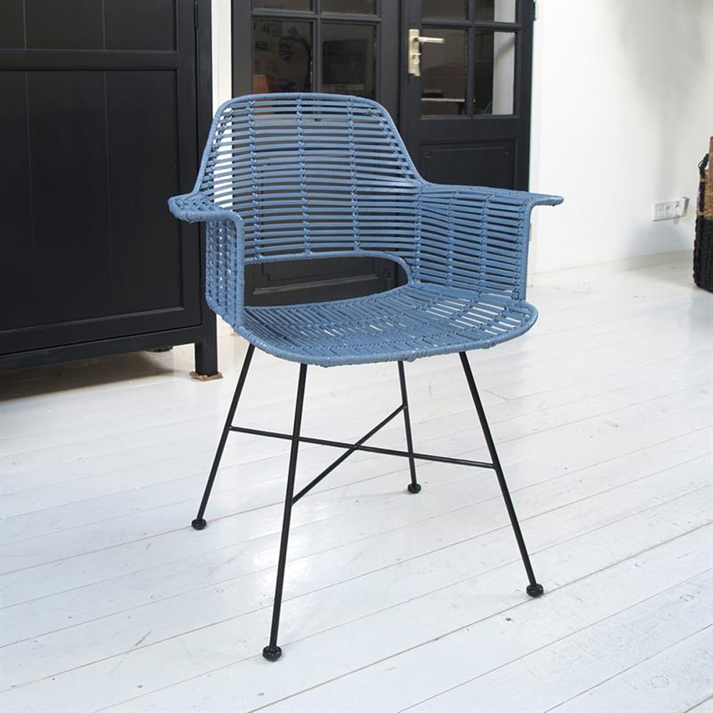 Scandi Style Rattan Tub Dining Chair In Industrial Blue - Hk Living ...
