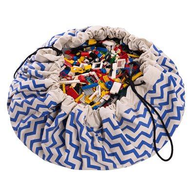 PLAY & GO TOY STORAGE BAG in Blue Zigzag Design