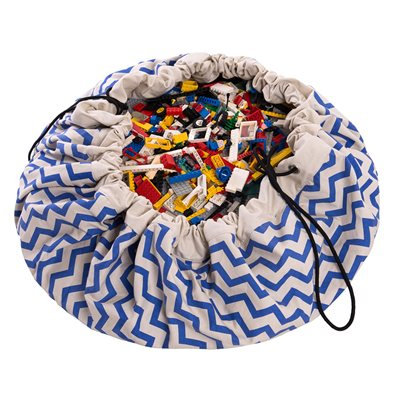 PLAY & GO TOY STORAGE BAG in Blue Zigzag Design