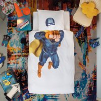 Snurk Childrens Superhero Duvet Bedding Set in Blue