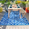 Blue and White Tile Print Garden Rug