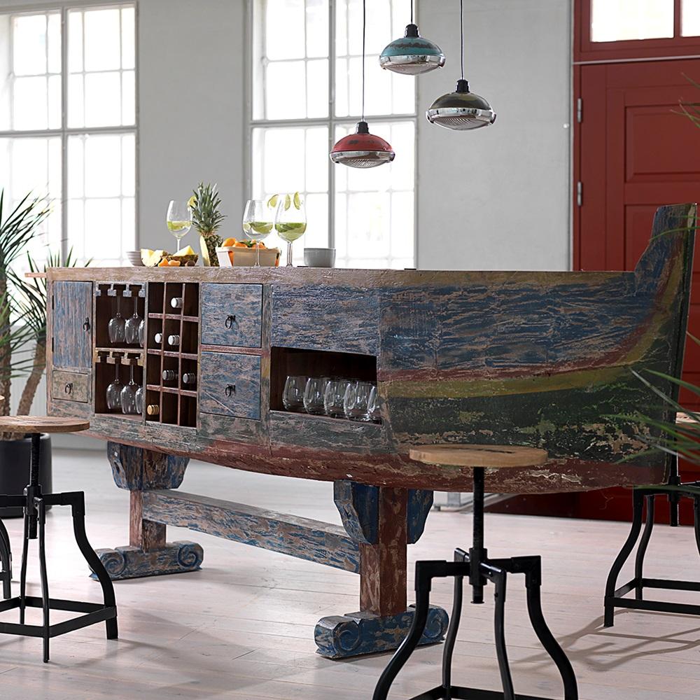 Vintage boat bar desk with wine rack storage canett