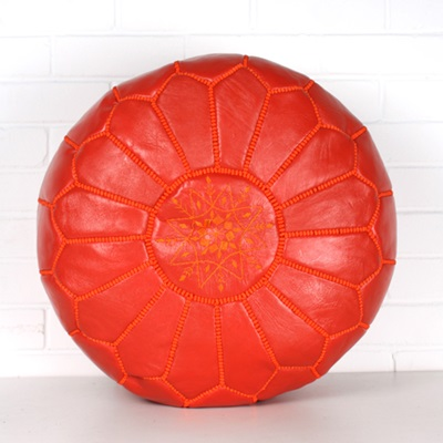 MOROCCAN LEATHER POUFFE in Deep Orange