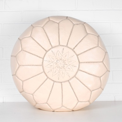 MOROCCAN LEATHER POUFFE in Latte