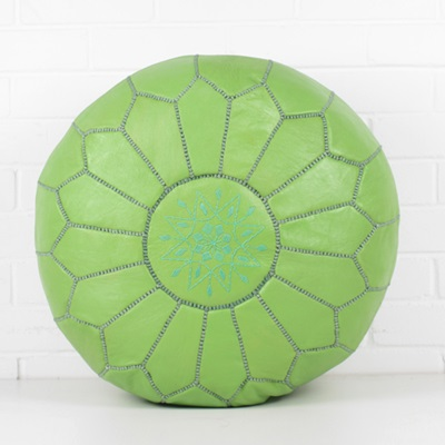 MOROCCAN LEATHER POUFFE in Green