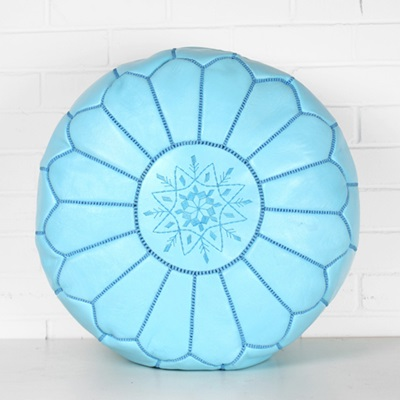 MOROCCAN LEATHER POUFFE in Sky Blue