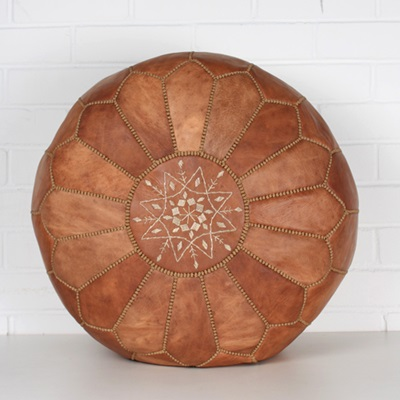 MOROCCAN LEATHER POUFFE in Tan