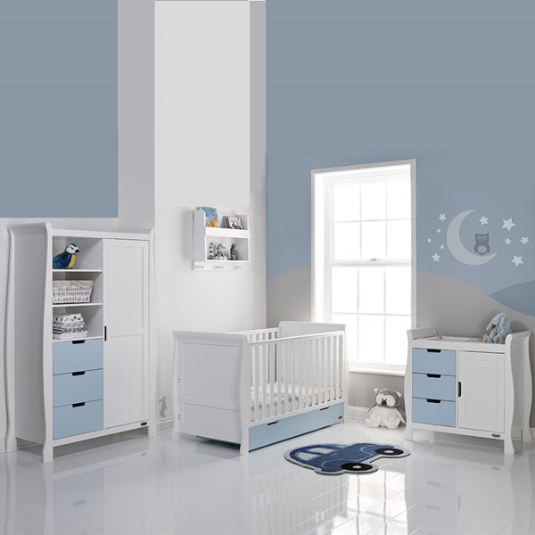 Stamford Cot Bed 3 Piece Nursery Room Set in Bonbon Blue and White by Obaby