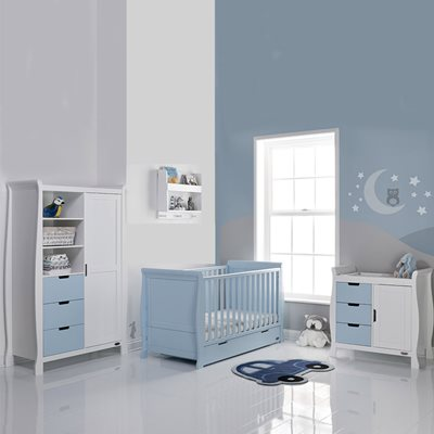 STAMFORD COT BED 3 PIECE NURSERY SET in Bonbon Blue by Obaby