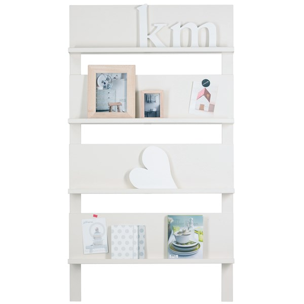 White Bookshelf and Magazine Rack