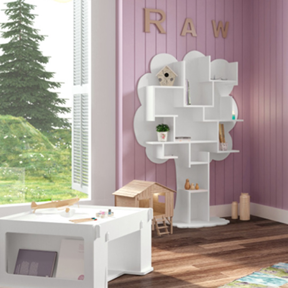 Kids Small Tree Bookcase In White Childrens Furniture Cuckooland