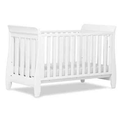 SLEIGH STYLE BABY COT BED in White