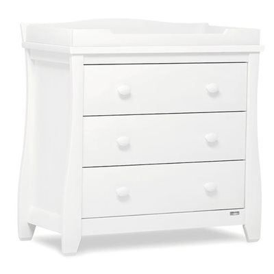 SLEIGH STYLE BABY CHANGING UNIT & STORAGE CHEST in White
