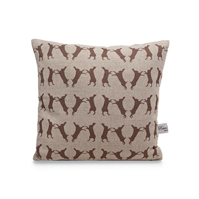 BOXING HARES LINEN CUSHION by Raw Xclusive