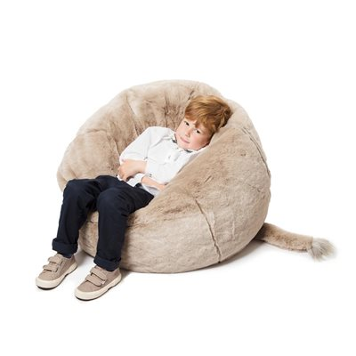 Kids Faux Fur Elephant Bean Bag