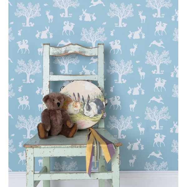 Wall Paper in Blue Enchanted Garden Design