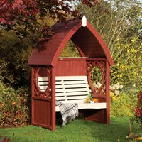 ROWLINSON BRAMBLE WOODEN ARBOUR in Bramble Brown & Elderflower Cream