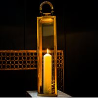 TALL LA ROCHELLE Lantern in Stainless Steel With Antique Brass Finish  Small