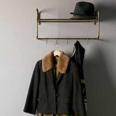 HANGING COAT RACK with Shelf