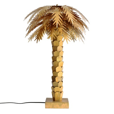 BRASS PALM TREE TABLE LAMP
