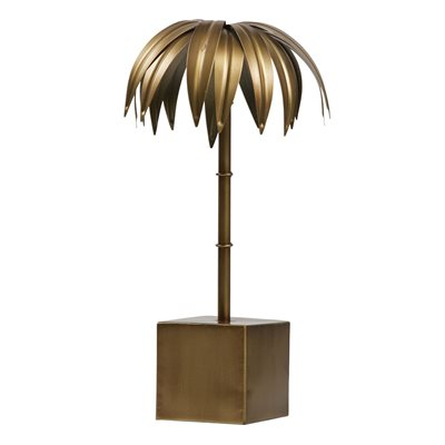 Small Decorative Palm Tree in Antique Brass