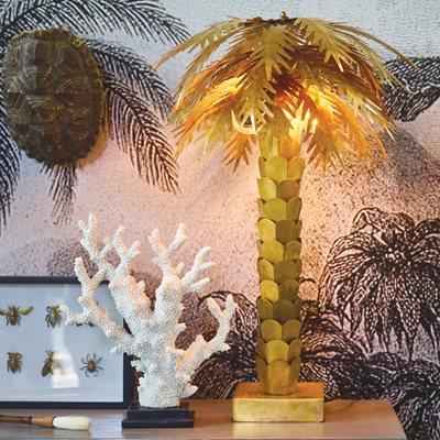 BRASS PALM TREE TABLE LAMP