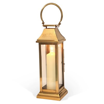 MEDIUM STATION Lantern in Brass Antique Stainless Steel