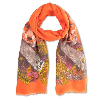 POWDER GENERAL FOX PRINT SCARF in Tangerine Orange