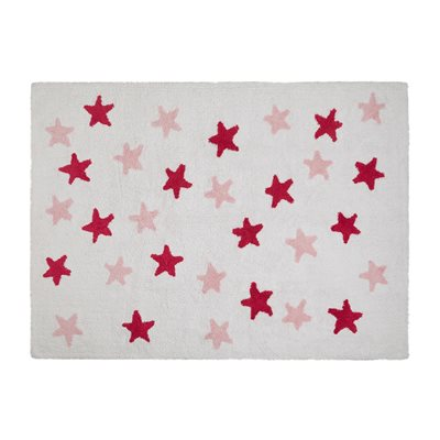 KIDS WASHABLE RUG in White Messy Star Design