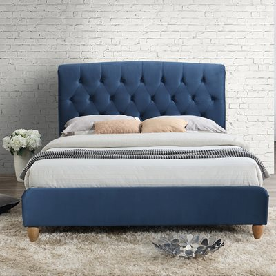 BROMPTON UPHOLSTERED BED in Midnight Blue by Birlea