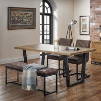 Julian Bowen Brooklyn Dining Set with Brooklyn Chairs & Upholstered Bench - 2 Chairs