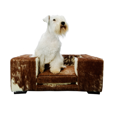 LUIGI DESIGNER DOG BED in Cowhide Brown & White
