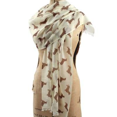 DACHSHUND CASHMERE SCARF in Chocolate Print by The Labrador Company
