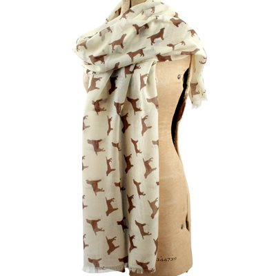 LABRADOR CASHMERE SCARF in Chocolate Print by The Labrador Company