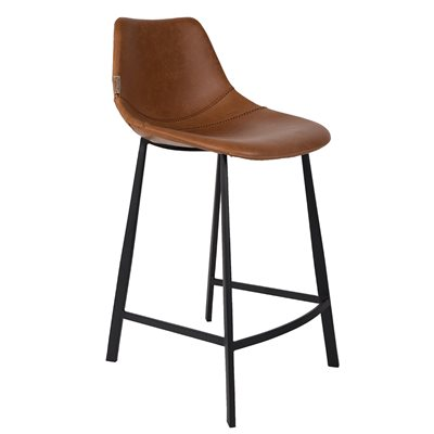 DUTCHBONE SET OF 2 FRANKY COUNTER BAR STOOLS in Brown PU Leather
